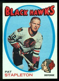 1971 72 TOPPS HOCKEY #25 PAT STAPLETON NM CHICAGO BLACK HAWKS FREE SHIP TO USA #ChicagoBlackhawks