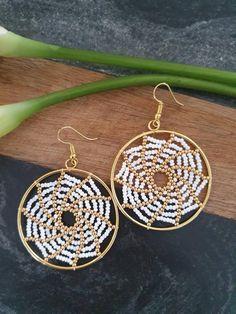 Beaded Earrings Patterns, Beaded Jewelry Designs, Seed Bead Jewelry, Seed Bead Earrings, Beading Patterns, Seed Beads, Bracelet Patterns, Earrings Handmade, Handmade Jewelry