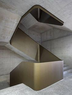 Concrete and brass staircase with a Brutalist feel.c… f… Concrete and brass staircase with a Brutalist feel. Interior Staircase, Modern Staircase, Staircase Design, Concrete Staircase, Stair Design, Staircase Ideas, Spiral Staircases, Architecture Design, Stairs Architecture