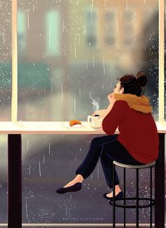 Cafe Painting - Poster - Coffee - Girl Drinking Coffee - Colorful - Rainy Day - Fall - Autumn - Wall