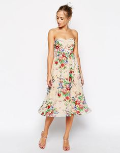 ASOS Wiggle Hem Bandeau Dress in Floral Print