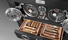 DOETTLING LUXURY WATCH WINDER | Each Döttling Fortress luxury vault is custom built to your specs. Watch winders and humidor are shown here. | http://luxurysafes.me/blog #luxury