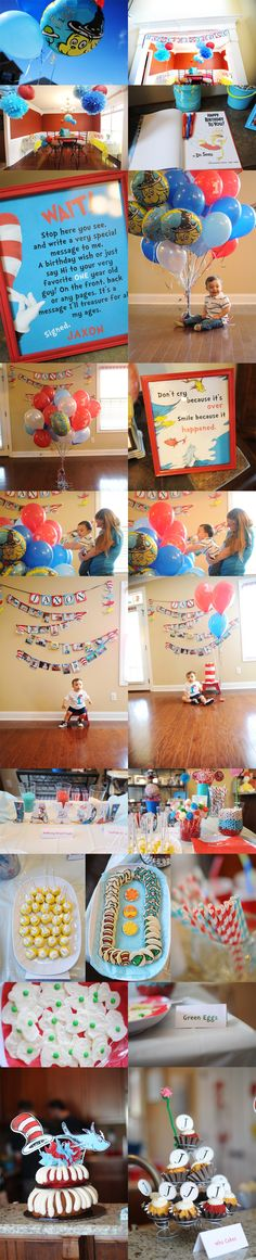 Sweet, sweet Jaxon turned one and had a big Dr. Seuss birthday bash to celebrate! His mama sure knows how to throw a party! Jaxon, you're such a big boy now! Dr Seuss Birthday Party, Birthday Bash, First Birthday Parties, Birthday Party Themes, Birthday Ideas, Birthday Message, Kid Parties, Birthday Nails, Twins 1st Birthdays