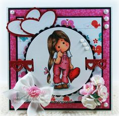 Valentine card using Magnolia stamp from Magnolia-licious by Sharon Caudle of Gramma's House of Cards. http://magnoliastamps.us/store2/ #crafts #cards
