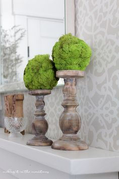 DIY Moss Topiary Balls via @akadesigndotca--perhaps dry real moss and seal to perserve...