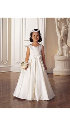White First Communion Dress - Designer Sweetie Pie 547 - Erin - Ballerina Or Full Length Sleeveless Satin Full Skirt With Box Pleats And Bow -