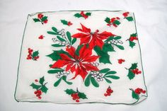 Christmas Handkerchief, Handkerchief, Vintage  Handkerchief, Poinsettia Handkerchief, Handkerchiefs, holiday hankie by VintagePlusCrafts on Etsy