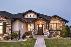 This Rustic Ranch boasts an open floor plan kitchen and just a few steps away th. This Rustic Ranch boasts an open floor plan kitchen and just a few steps away there is a covered de Dream House Exterior, Exterior House Colors, Stucco Colors, Ranch House Plans, House Floor Plans, Rambler House Plans, Basement House Plans, Dream House Plans, Ranch Style Homes