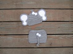 Crocheted elephant hat and diaper cover,baby girl elephant set,handmade elephant hat with ears elephant photo prop, baby shower gift by Etvy on Etsy