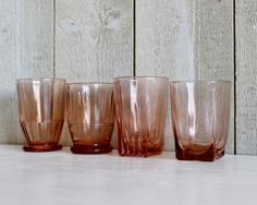 Art Deco Pink Water Glass Tumblers - 1930s - Set Of 4 - French Kitchen Vintage by OhlalaCamille on Gourmly