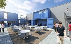 Shipping container restaurant collective, beer garden hits Detroit in 2016 Shipping Container Restaurant, Shipping Container Homes, Shipping Containers, Container Cafe, Cargo Container, Casas Containers, Counter Design, Container Architecture, Garden Features