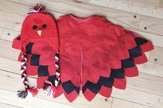 Baby Cardinal Costume Infant Red Bird by RepurposedWoolStudio