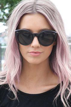 pink lips. pink hair.