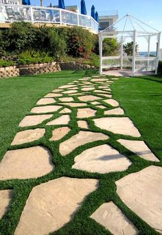 Commercial Installations - Synthetic Grass Warehouse - Another! Artificial Grass Installation, Artificial Turf, Artificial Grass Ideas, Landscape Design, Garden Design, Front Yard Walkway, Garden Stepping Stones, Small Backyard Landscaping, Landscaping Ideas