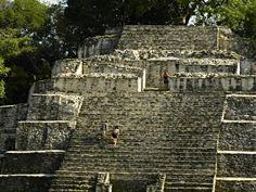 Scaling the massive temples at the Lamanai #Maya Site. #BelizeVacationPackages #SabreWingTravel #LamanaiOutpostLodge