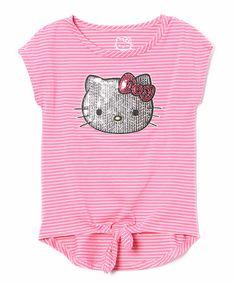 Look what I found on #zulily! Carmine Rose Hello Kitty Sequin Tee - Toddler & Girls #zulilyfinds