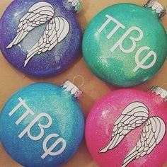 Glitter Pi Beta Phi ornaments! #piphi #pibetaphi