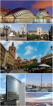 Collage con imágenes de los enclaves más representativos de la ciudad de Valencia.