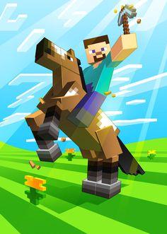 by Lukali - Minecraft World Minecraft Horse, Minecraft Tips, Minecraft Fan Art, Minecraft Crafts, Mine Minecraft, Minecraft Posters, Minecraft Drawings, Minecraft Pictures, Herobrine Wallpaper