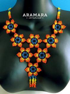 Collar de mexicana mexicana Huichol flor de collar y por Aramara