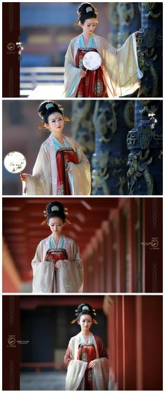 Hanfu: traditional Chinese costume. This one is a qixiongruqun(齐胸缛裙)from Tang dynasty