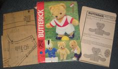 Butterick 201 Stuffed Bear Sports Wardrobe Soccer Track Coach Weightlifting