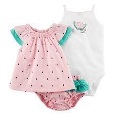 Baby Girl Carter's Watermelon Tank Top, Bloomers & Bodysuit Set
