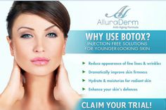 Allura Derm Anti-Aging Cream is an effective collagen retinol with anti-wrinkle solution formulated by skin care expert Anti Aging Tips, Anti Aging Serum, Best Anti Aging, Anti Aging Skin Care, Skin Care Cream, Skin Cream, Botox Injections, Anti Aging Supplements, Younger Looking Skin
