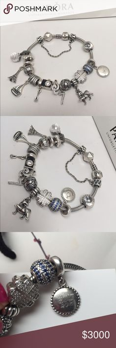 """MY PANDORA DURAN DURAN BRACELET JUST 4 SHOW  Hi guys! I just wanted 2 show off my Duran Duran bracelet I have put together. This stands 4 all things that remind me of my favorite band. Yep that's me at their concert a few months ago. Raindrop safety chain for (hold back the rain), rockstar clip (obvious), moon & star (new moon on Monday), globe( planet earth), camera (girls on film), vino( hungry like the wolf """"juices like wine"""", blue nautical (blue silver), 7 & the ragged tiger, Duran 2016…"""