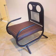 Jeep lovers chair, all hand made steel, flat black powder coated, one of a kind design.