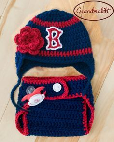 free crochet red socks baseball hat pattern | BOSTON RED SOX Pacifier, Baby Girls Crocheted Baseball Earflap Hat ..