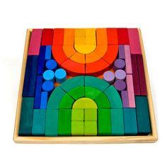 Romanesque Building Set (Gorgeous colors!) by Grimm's Spiel and Holz