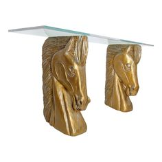 Carved Horse Head Console Table - Image 1 of 8 Wooden Horse, East Hampton, Horse Head, Console Table, Vintage Furniture, The Hamptons, Carving, Vase, Horses