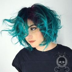 Teal Balayage Bob With Black Roots