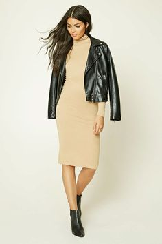 Forever 21 Contemporary - A ribbed knit midi dress featuring a turtleneck, long sleeves, and a form-fitting silhouette.