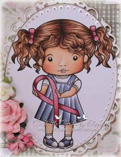 "Awareness Ribbon Marci by La La Land Crafts. Copics used: Skin: E000-04-11-13-21, R20 Hair: E29-25-21 Dress: BV29-25-23-20, W7 Pink: R89-85-81 ""White"": W7-3-1-00"