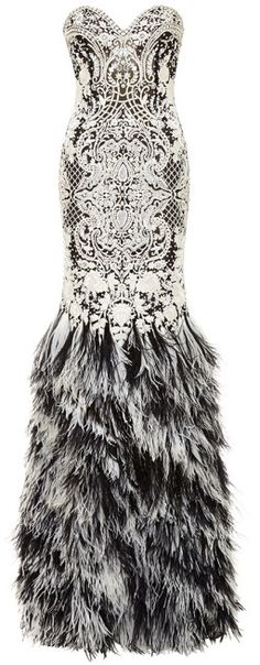 Naeem Khan Baroque Beaded Gown With Ostrich Feather Skirt Black/White on shopstyle.com