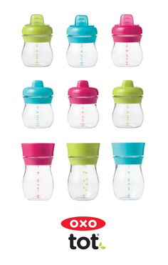 The new line of OXO Tot Transitions Sippy Cups grows with your little one from Sippy Cup to Training Cup - it can even turn into a big kid cup!