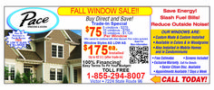 Fall window sale is still going at Pace windows and doors! Call us today. Buy direct and save!