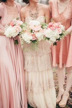 pink wedding inspiration, blush and gold bouquets