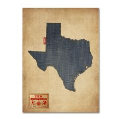 Texas Map Denim Jeans Style by Michael Tompsett Graphic Art Gallery Wrapped on Canvas