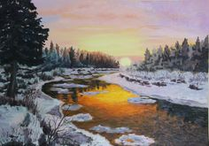 winter river sunset - Google Search