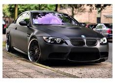 Matte black BMW car. My ride