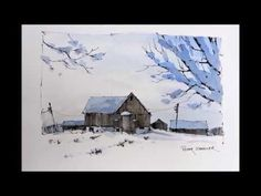 "Line and Wash ""Winter Farm"" Watercolor with just Two Colors. Great beginner Lesson. Peter Sheeler - YouTube"