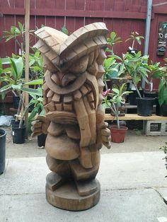 Best Tiki ever ! Tiki Hawaii, Hawaiian Tiki, Tiki Man, Tiki Tiki, Tiki Pole, Tiki Faces, Tiki Statues, Tiki Decor, Tiki Lounge