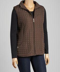 Look at this #zulilyfind! Chocolate Circle Quilted Vest - Plus #zulilyfinds
