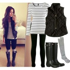 Outfit: Stripe shirt, black quilted vest, skinny jeans, leg warmers, black riding boots.
