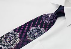 Renoma Men's Silk Necktie Silver Medallions On Navy Blue With Crystal Rhinestones