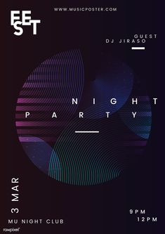 Night party music poster vector v Event Poster Design, Event Posters, Graphic Design Posters, Graphic Design Inspiration, Poster Designs, Event Design, Poster Layout, Poster Poster, Graphisches Design