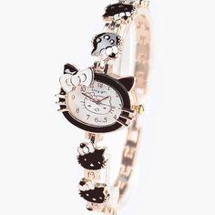 2016 New Hello Kitty Watches Fashion Ladies Watch Vintage Kids Cartoon Wristwatches Quartz Women